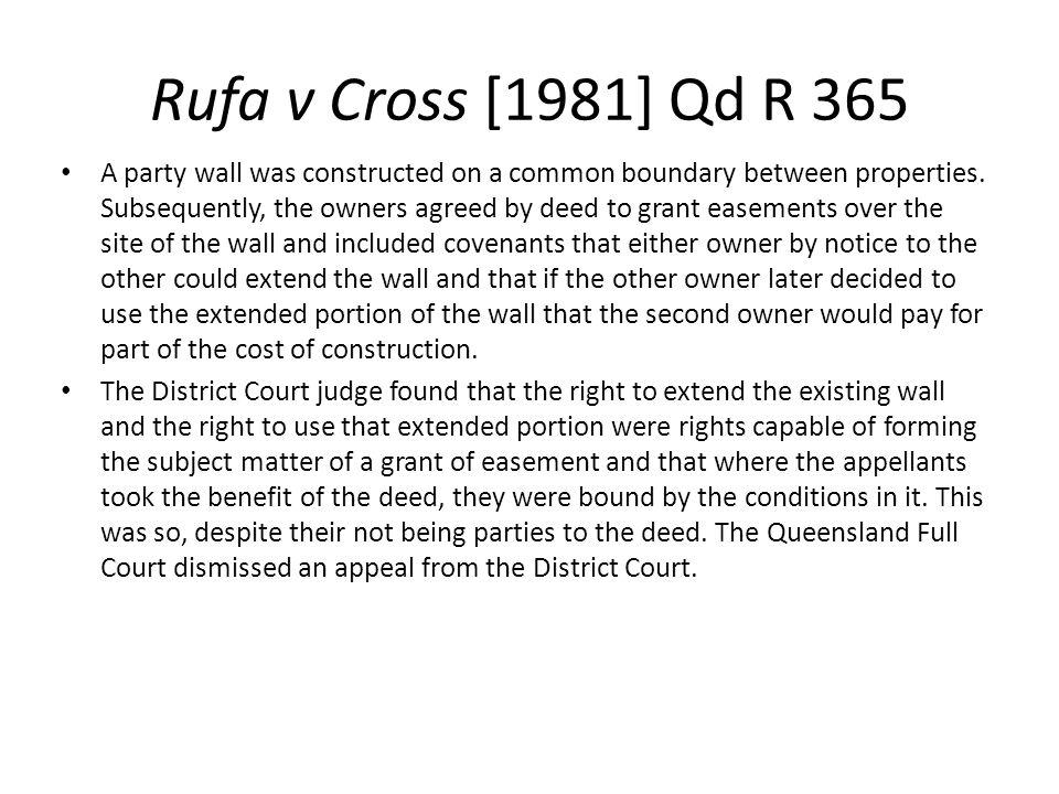 Rufa v Cross [1981] Qd R 365